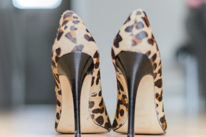 Dune leopard print heels