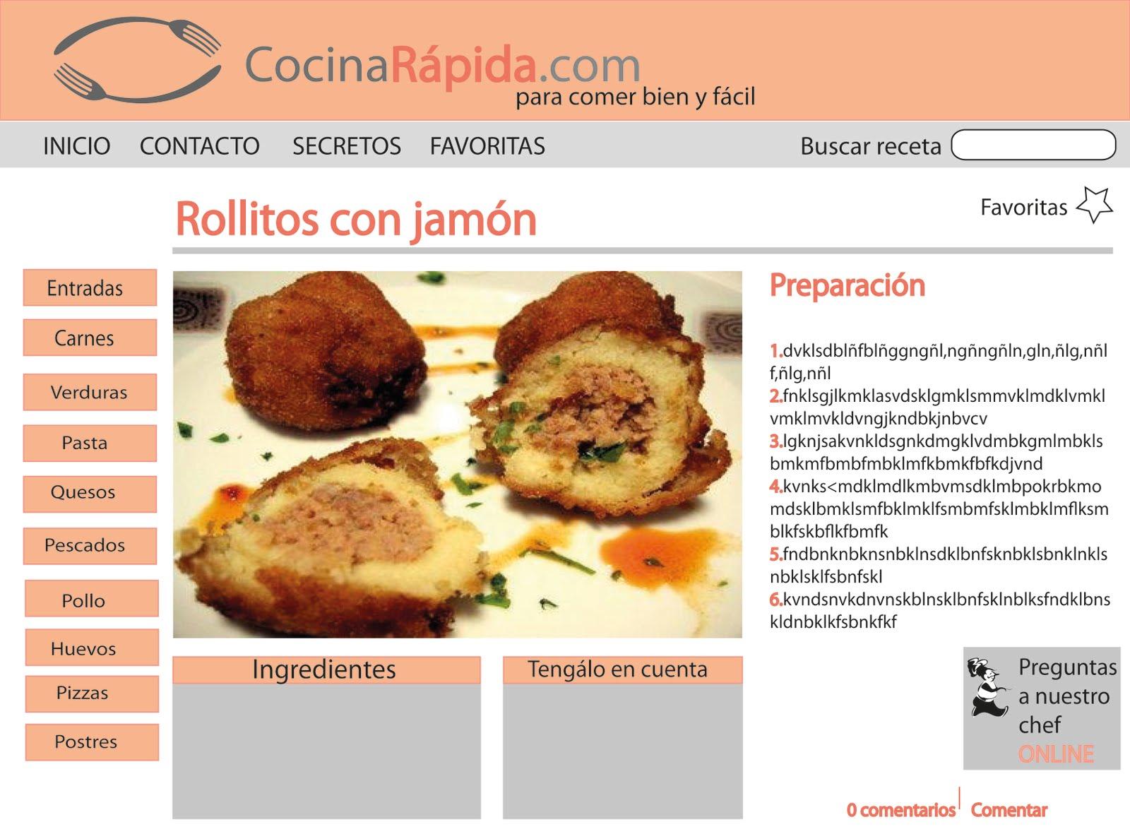 dise o web pagina web de cocina