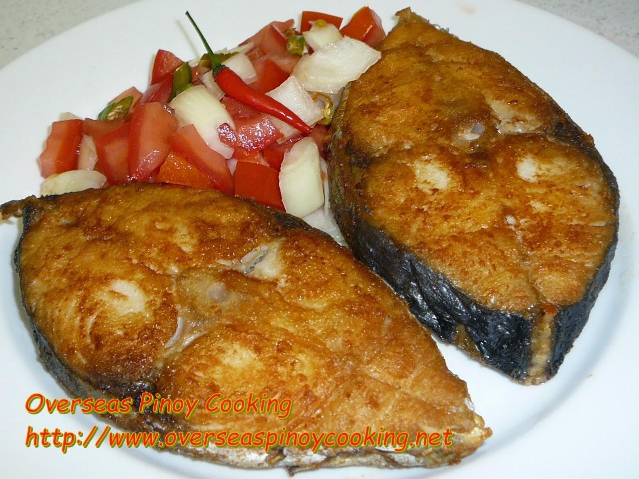 Fried Tanguigue Steak with Tomato Onion Chili Relish