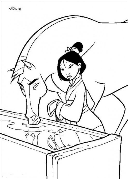 Princess Wushu Mulan Coloring Pages From Disney Cartoon Kids title=