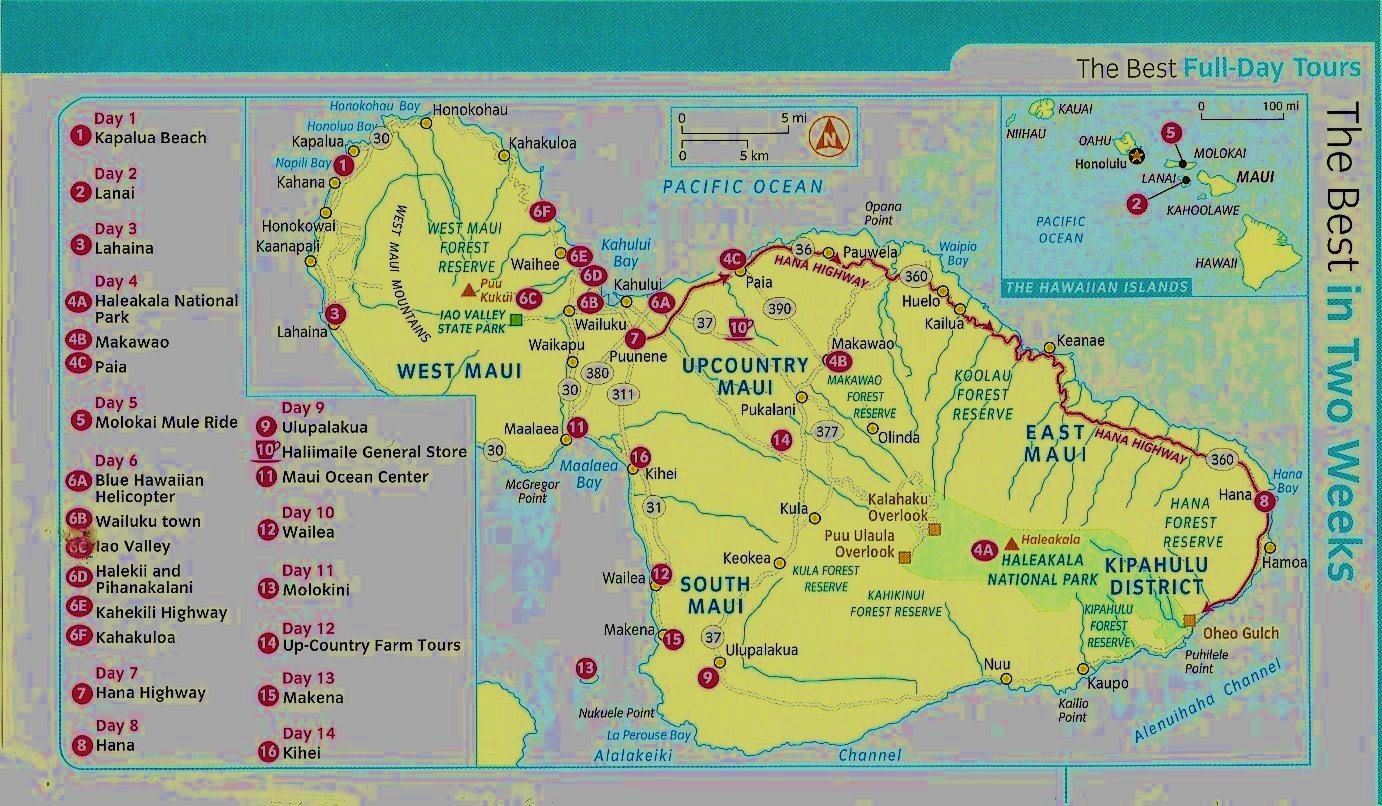 Rosemary and Carols Most Excellent Adventure Maps of Maui – Maui Tourist Map