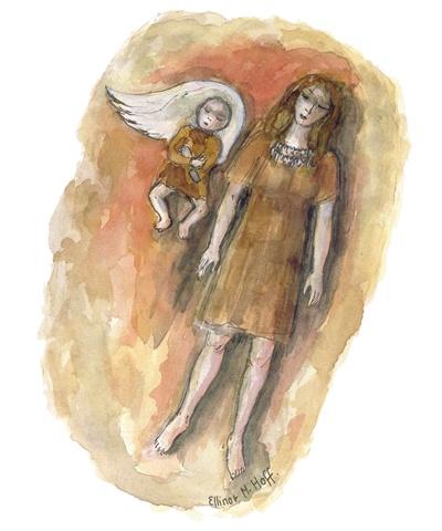 Mor og barn på svanevinge, fra stenalderen, Vedbækfundene