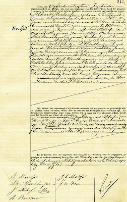 Marriage certificate of Albert Melessen and Mietje Houthuijzen