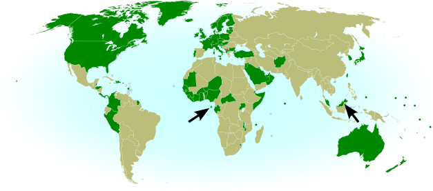 Map of countries that recognize the Republic of Kosovo as independent