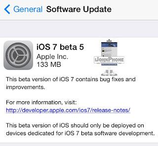 iOS 7 beta 5 disponible para descargar