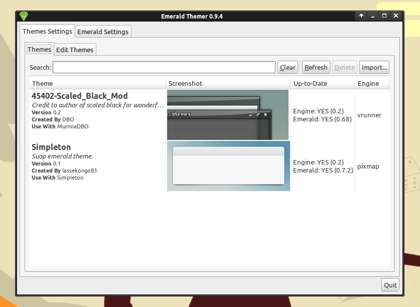 Emerald Theme Manager di Ubuntu Oneiric (XFCE)