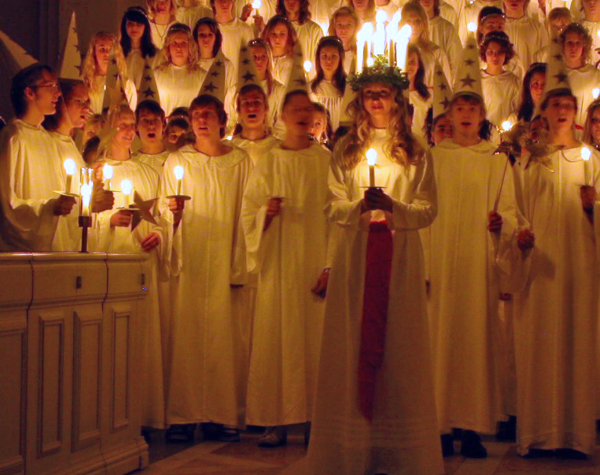 Saint Lucia processional in Norway. Photo: WikiMedia.org.