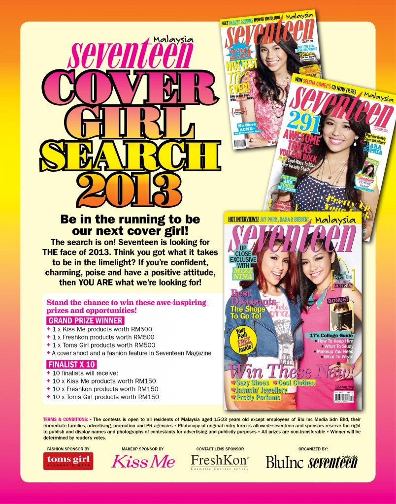 PENCARIAN MODEL : Seventeen Cover Girl Search 2013