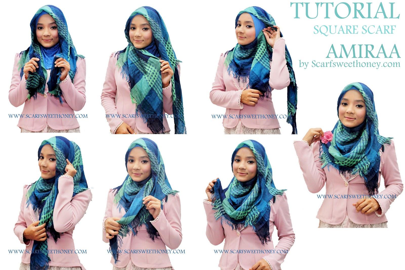 Cara Memakai Jilbab Segi 4 Scarf AMIRAA Style 2 Tutorial Memakai