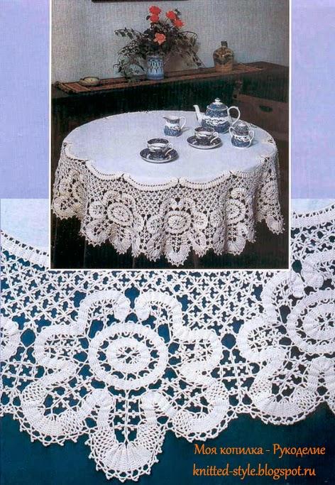 Нереально белая красивая скатерть для круглого стола крючком