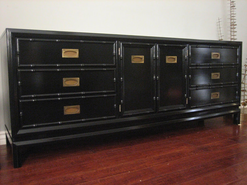 European Paint Finishes Glossy Black Faux Bamboo Dresser