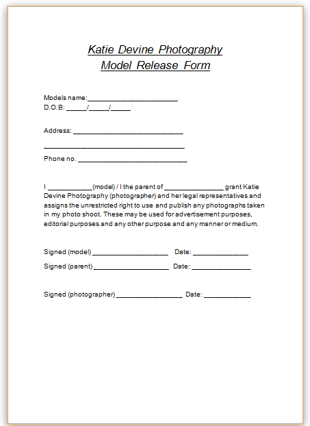Katie Devine Photography Model Release Forms – Simple Release Form