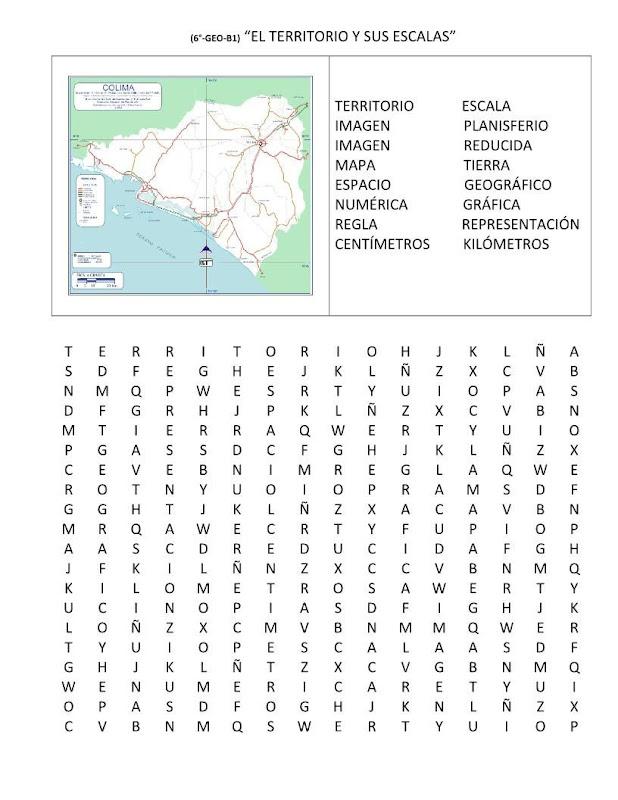 Sopa de letras territorio y escalas