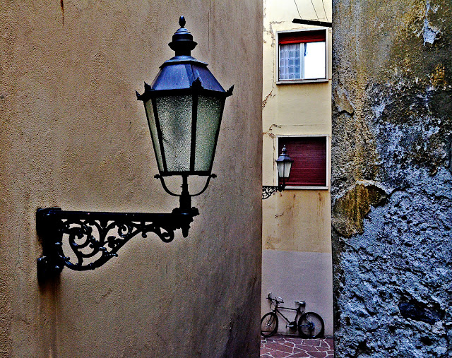 Switzerland Sion Vallis Two Lamps and bicycle