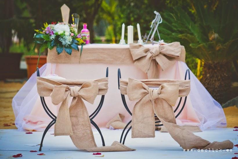 set de ceremonia en tela de saco , raso rosa palo y tul
