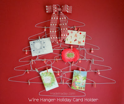 wire hanger Christmas card holder
