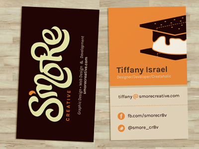 GotPrint S'more Creative brown and orange business card front and back