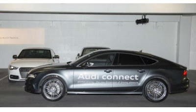 Mobil modifikasi Audi A7 yang bisa parkir sendiri di sebuah hotel di Las Vegas, AS