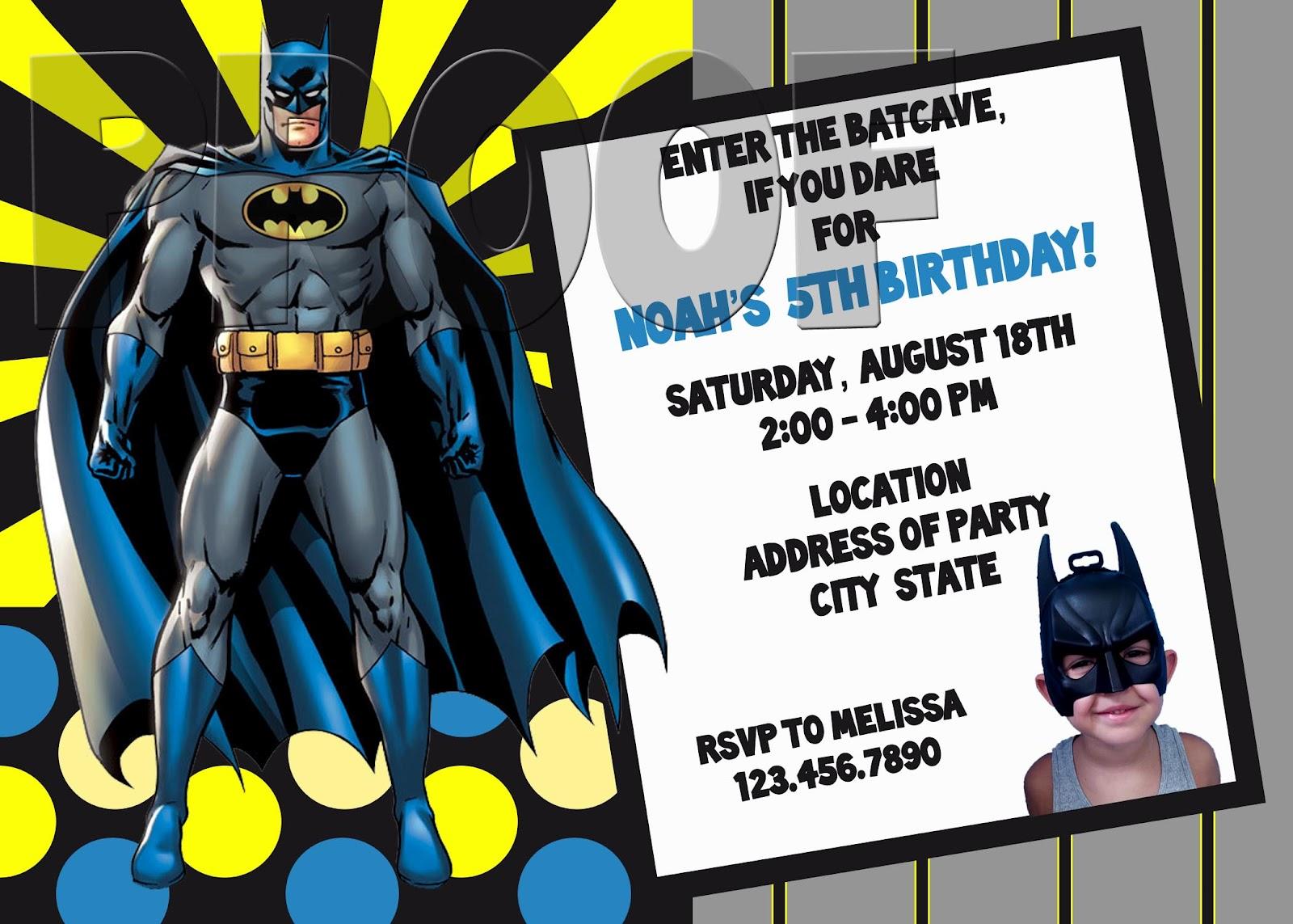Fanci Prints by Tiffany: Batman Birthday Invitation