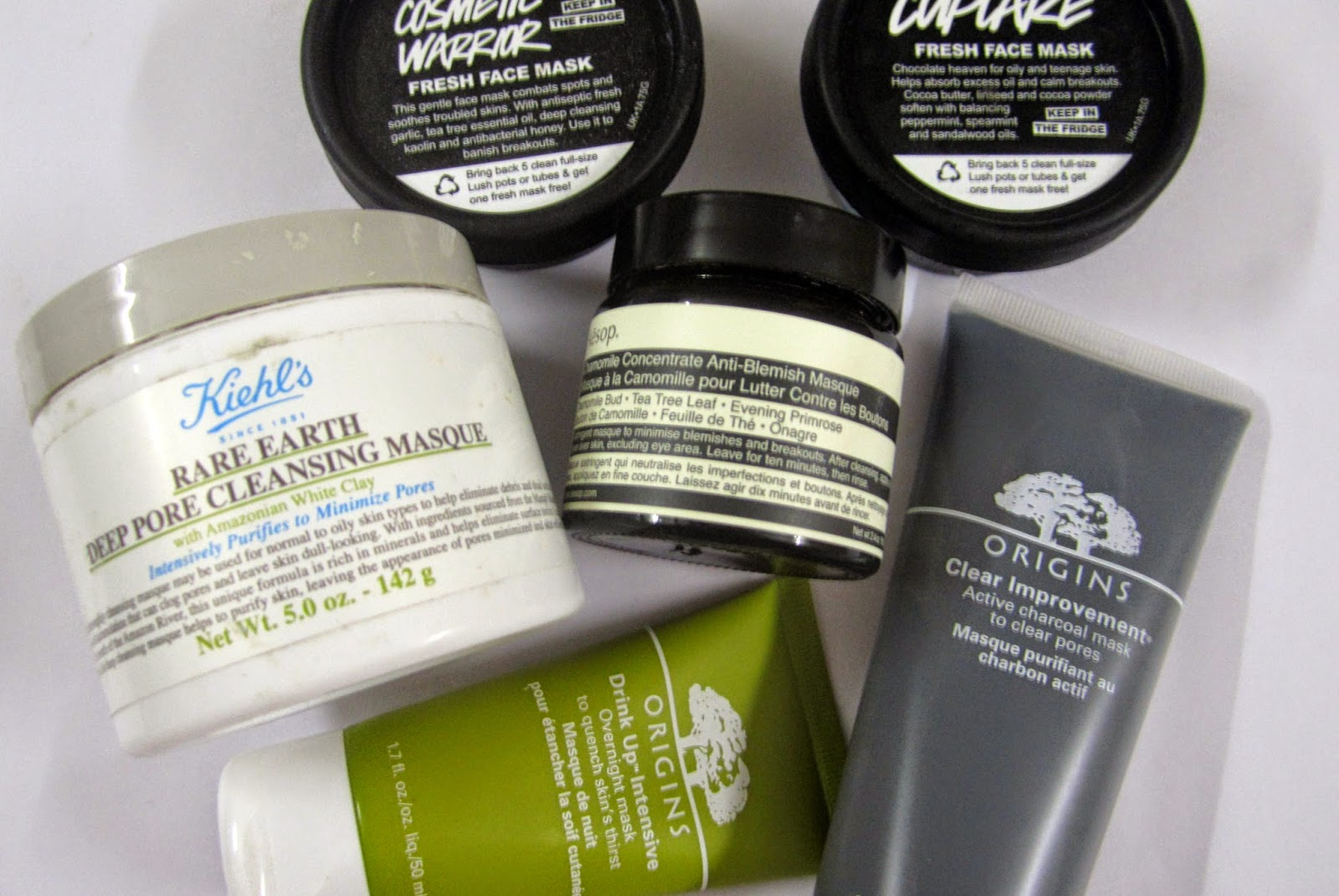 Lush Cupcake Fresh Face Mask, Lush cosmetic warrior fresh face mask, origins clear improvement active charcoal mask, origins drink up intensive overnight mask, Aesop chamomile concentrate anti-blemish masque, kiehl's rare earth deep pore cleansing mask