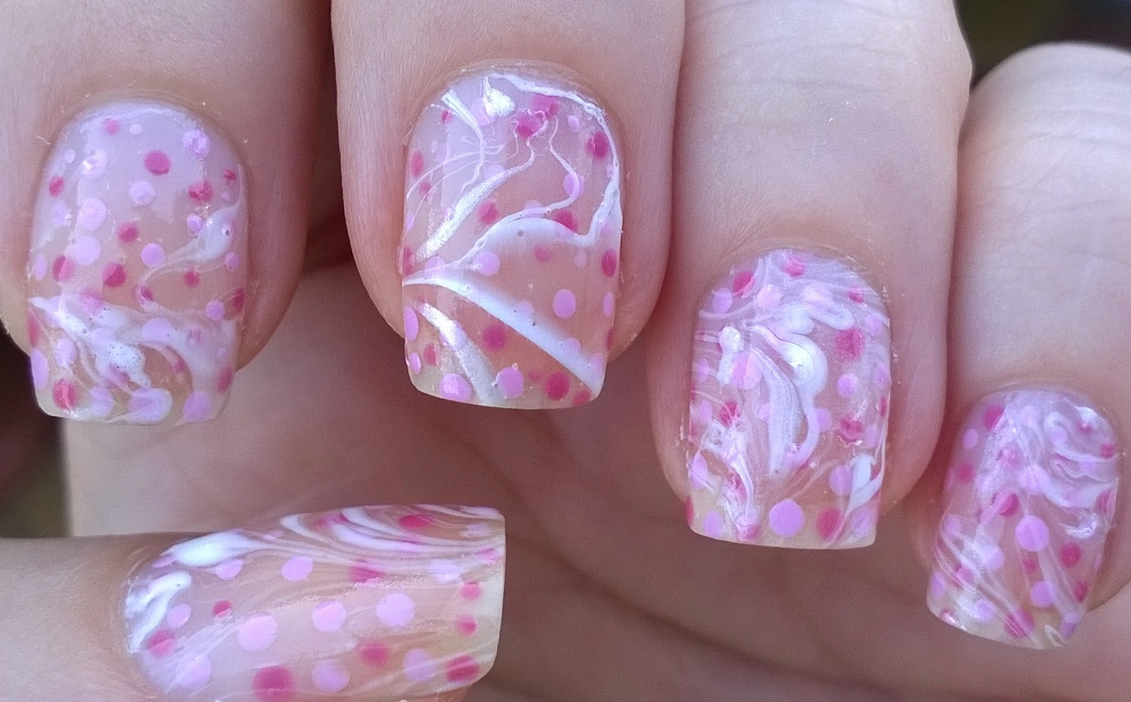 Life World Women Negative Space Water Marble Nail Art In Pink White