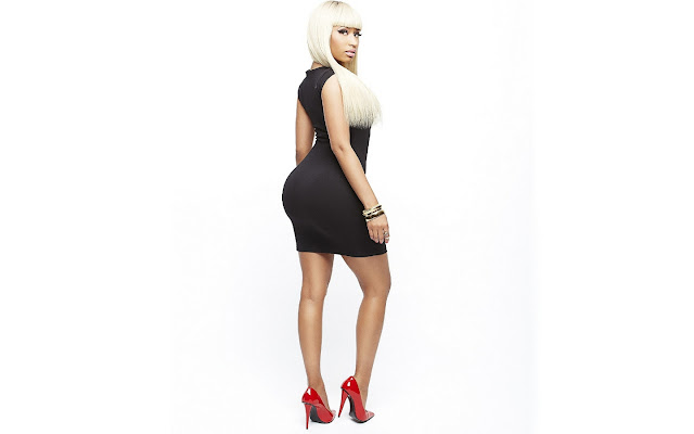 Nicki Minaj in black dress
