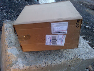 Purolator box, cardboard box, special delivery, #whatisinthebox, getting ready for winter, winter in Montreal