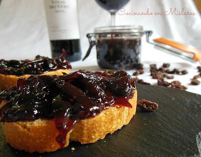 Confitura de cebolla al vino tinto de Somontano con pasas