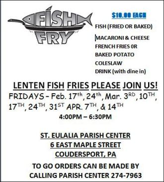 3-31 Lenten Fish Fries At St. Eulalia's