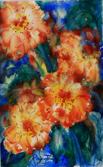 Sensation Fine Art Watercolor painting on Paper Zinnia Sonata series, Three of Eight