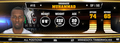 NBA 2K13 Timberwolves Shabazz Muhammad - Round 1 14th Overall
