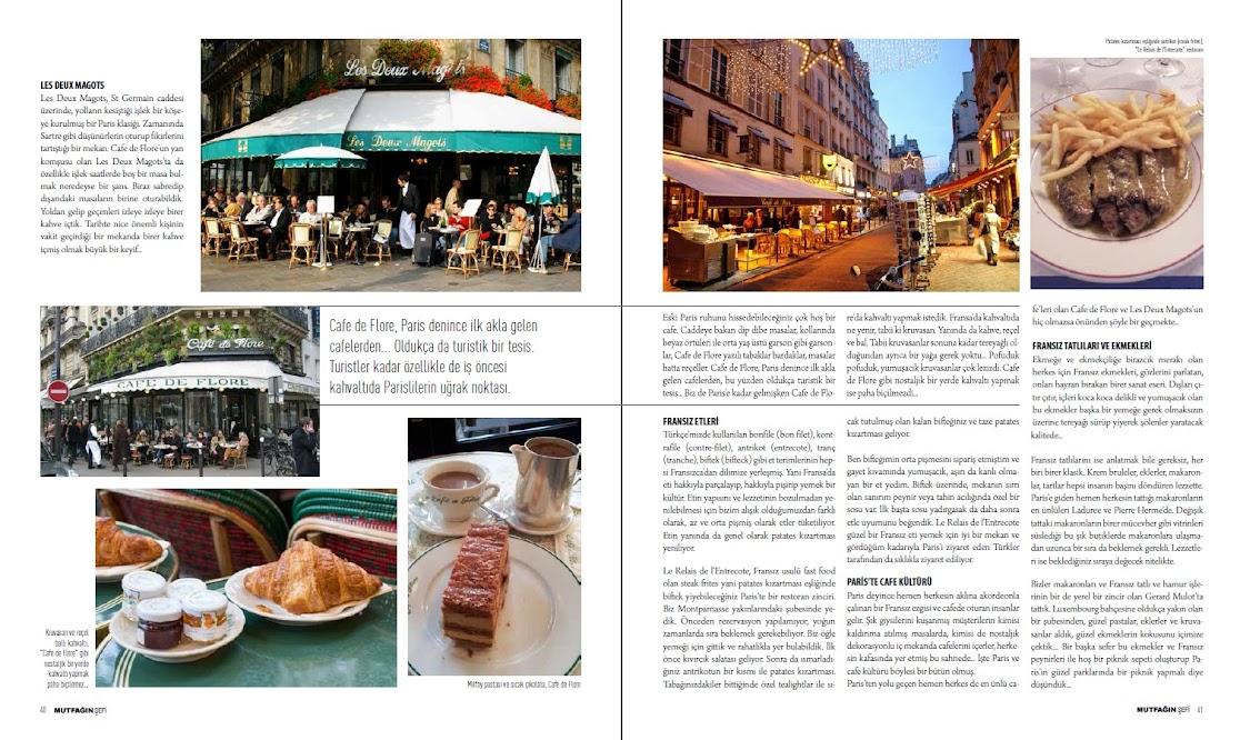 Fransız etleri, cafeleri, ekmekleri, tatlıları, Paris Lezzetleri Mutfağın Şefi dergisi