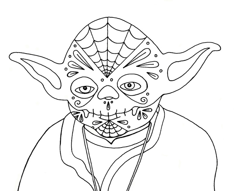 Wenchkin's Coloring Pages - Dia de los Yoda title=