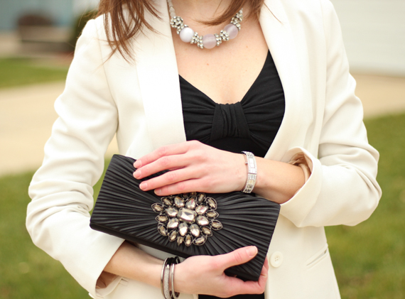 StyleSidebar - Satin & Rhinestone Clutch, Rhinestone Bangles, Watch & Necklace