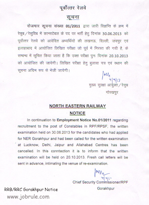 RRB RRC Gorakhpur (RRBGKP) RPF/RPSF Recruitment Re-Examination Admit Card, Previous Year Model Questions, Syllabus 2013