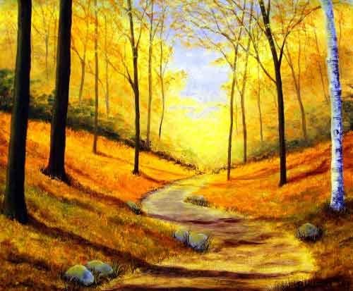 Tranh | Phong cảnh | Con đường trong rừng thu