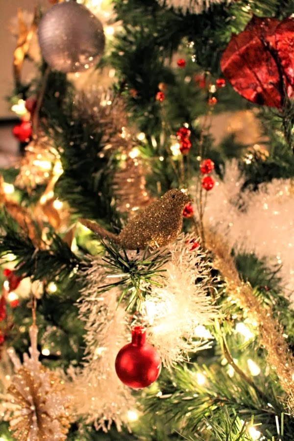 Golden Glass Bird Ornament #vintage #christmas #gold #holiday