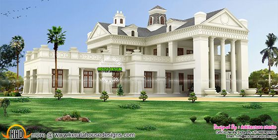 Luxury colonial style house architecture in Kerala