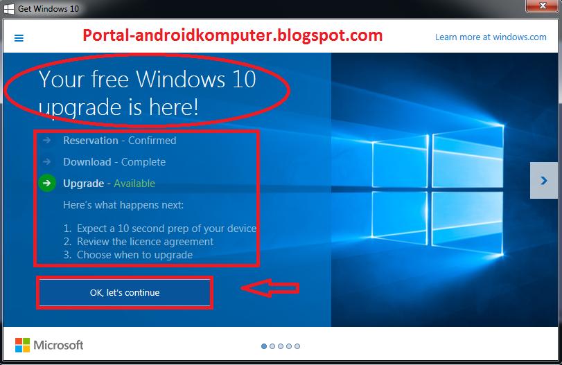 berarti windows 7 kamu sudah siap untuk upgrade ke windows 10, klik ...