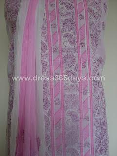 White Pink Designer Chikankari Suit piece