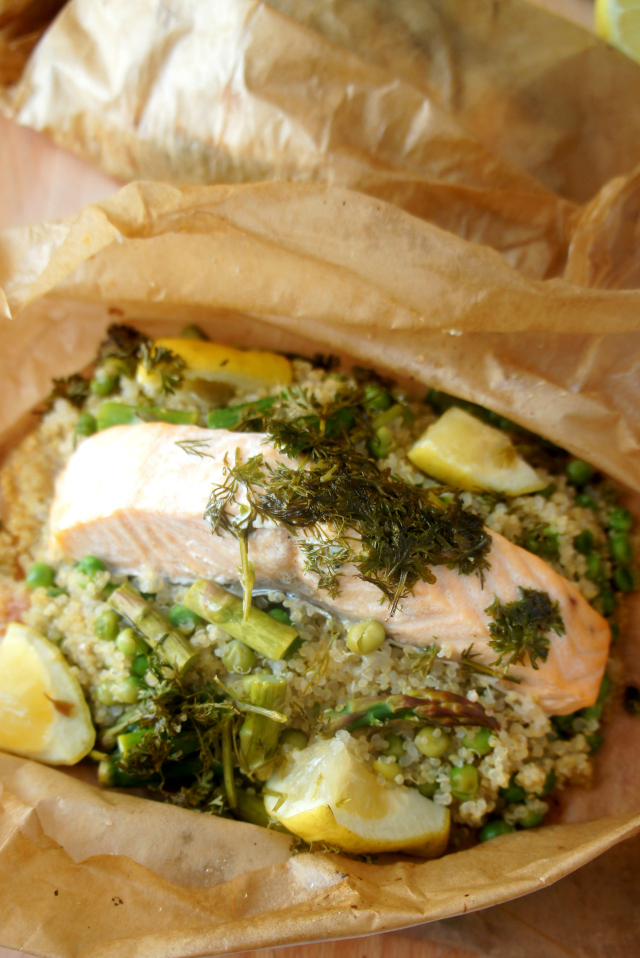 Salmon and quinoa parcel open at front, closed at back