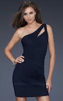 Къса рокля с едно рамо в тъмносиньо, дизайн La Femme
