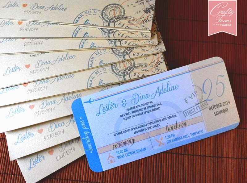 Boarding Pass Invitation Card for Church Wedding Ceremony