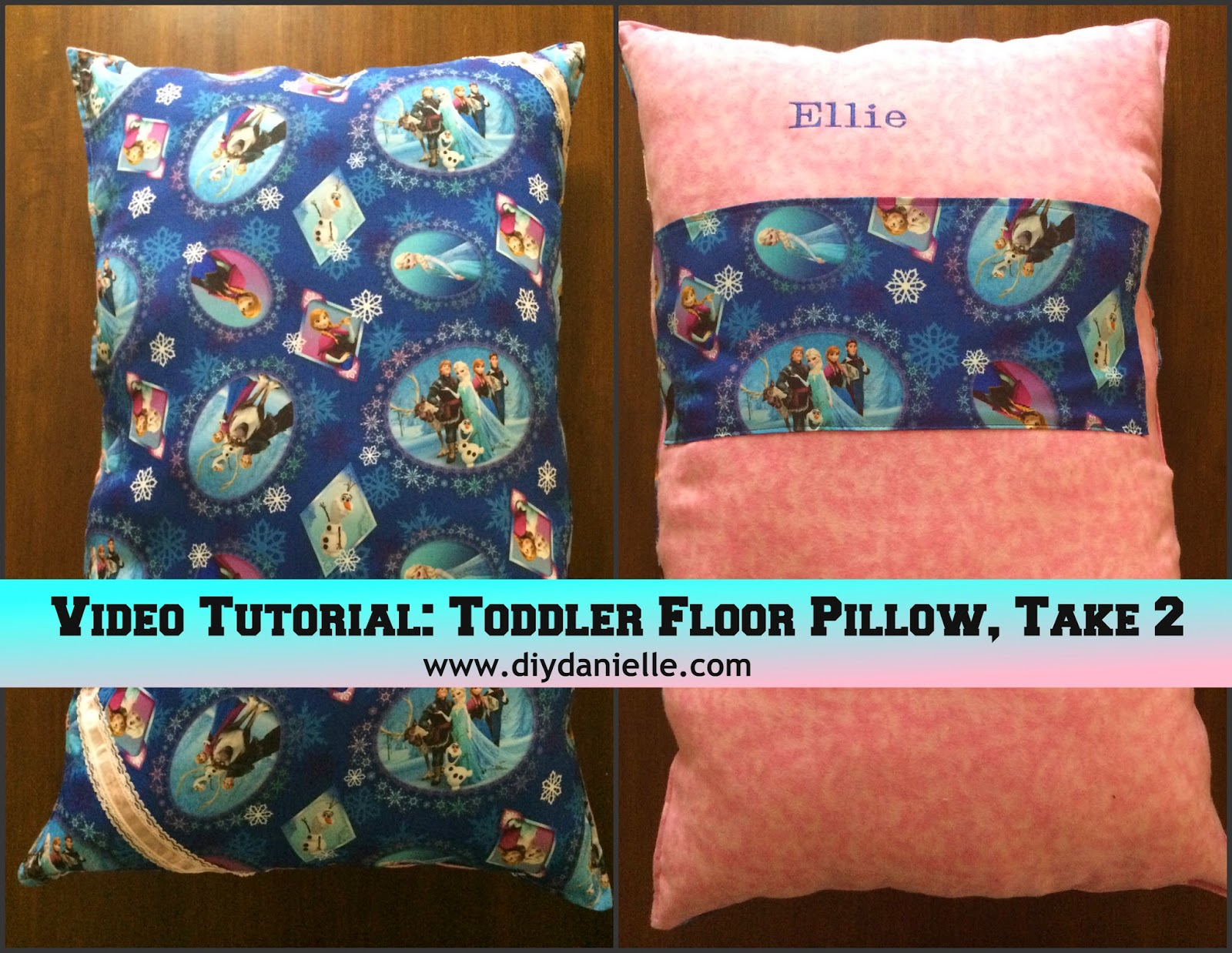 Video tutorial showing how I made this fun Frozen floor pillow as a birthday gift for a 3 year old.