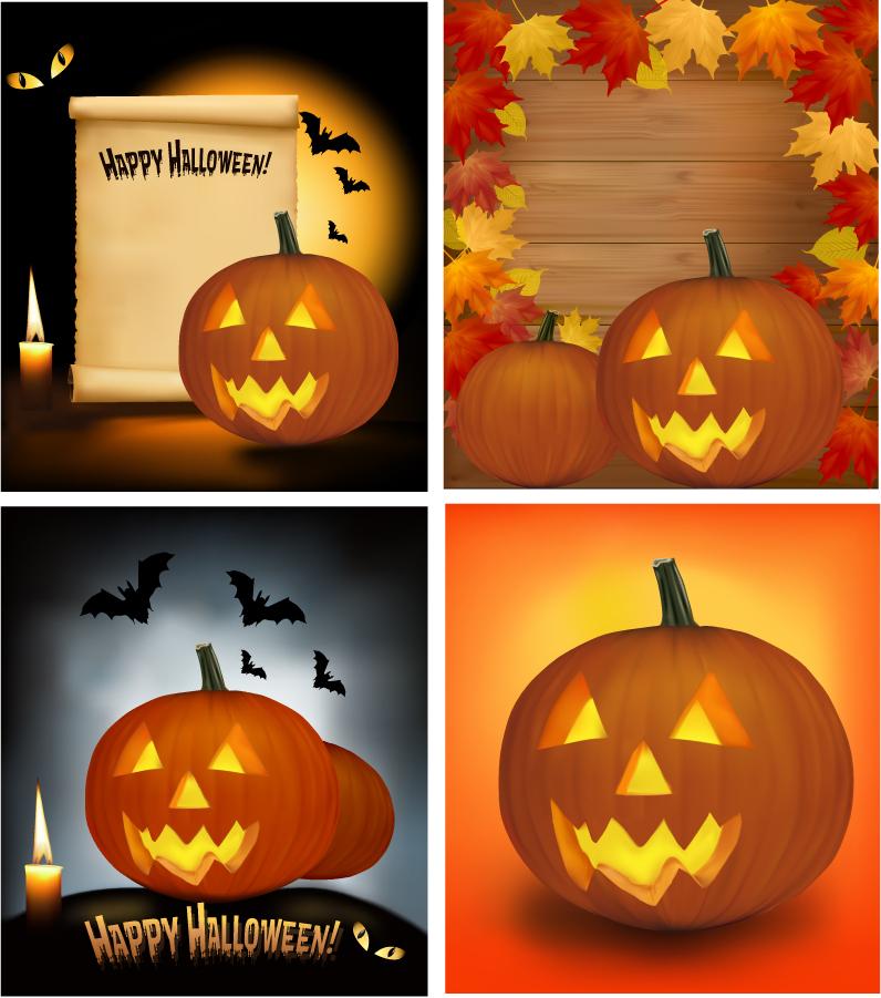 ハロウィンのかぼちゃランタンを描いた背景 Halloween cartoon pumpkin lights イラスト素材