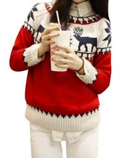 Round Neck Deer Print Sweater