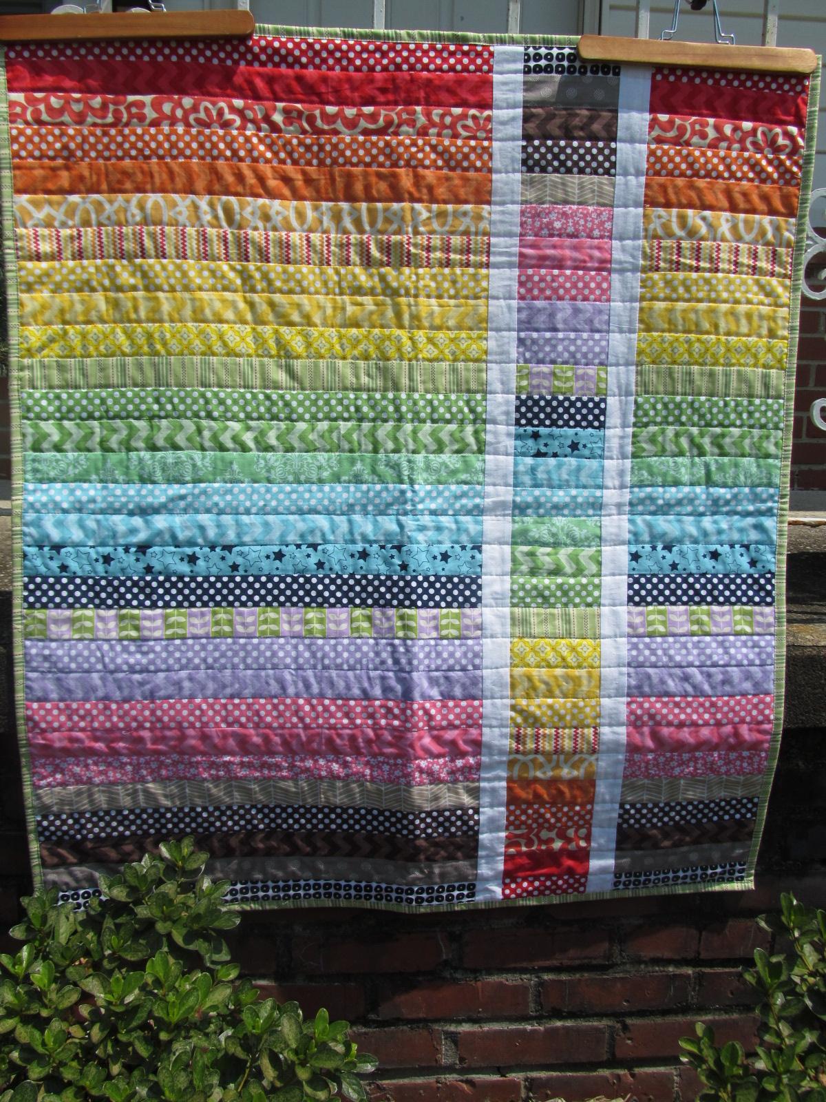 Amazing Grace. Abounding Joy. Abundant Love.: rainbow strip baby quilt