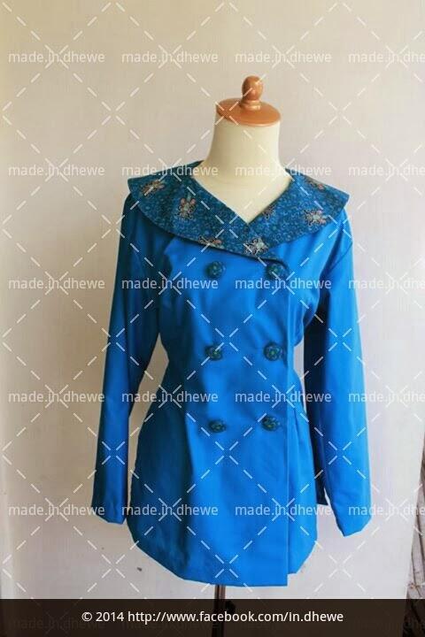 blouse coat batik print kombinasi kain katun polos