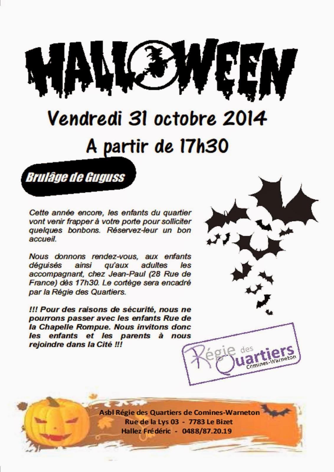 31 OCTOBRE HALLOWEEN Régie des Quartiers BIZET