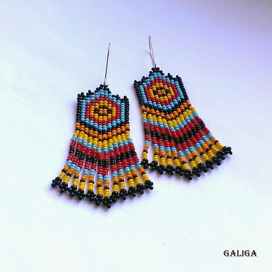 Ethnic Earrings-Seed Bead With Fringe Earrings -Dangle Tarrings